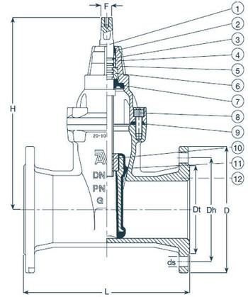Габаритные и присоединительные размеры магистральной задвижки AVK типа 50/60-02/60
