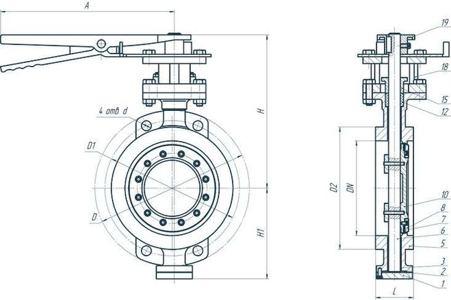 Затвор PALUR-ZD-3EX фланцевый трехэксцентриковый