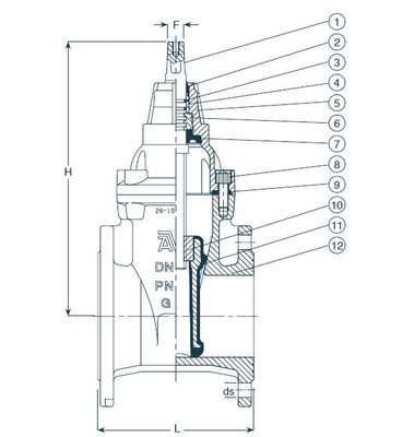 Габаритные и присоединительные размеры магистральной задвижки AVK типа 06/30