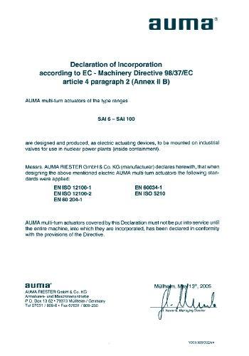 AUMA сертификат